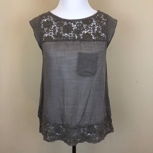 Anthropologie Odille Cap Sleeve Crochet Top